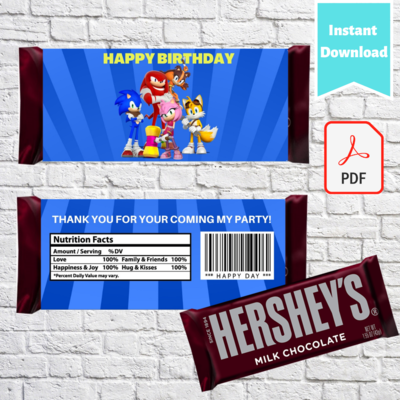 Sonic the hedgehog Hershey Chocolate Candy Bar Wrappers