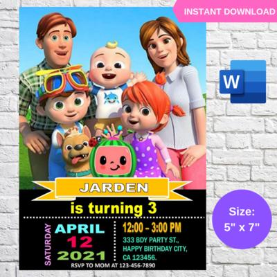 Cocomelon JJ Family Birthday Invitation Template
