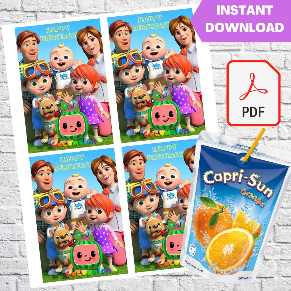 Cocomelon Capri Sun Pouch Labels Printable