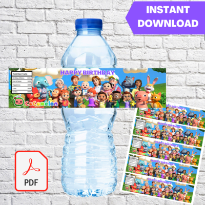 Cocomelon Water Bottle Labels Printable