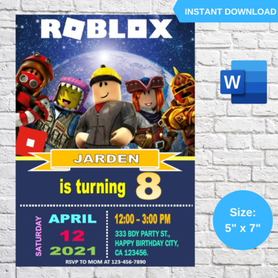 Roblox Game Birthday Party Invitation Template