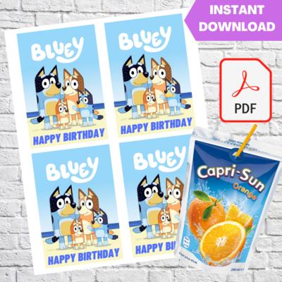 Bluey Party Capri Sun Pouch Labels Printable