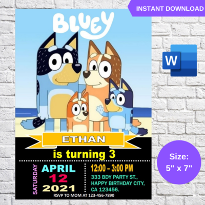 Bluey Birthday Invitation Template Editable