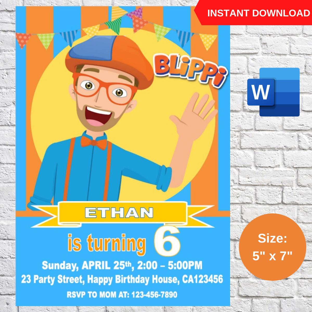 Blippi Birthday Invitation Template Printable
