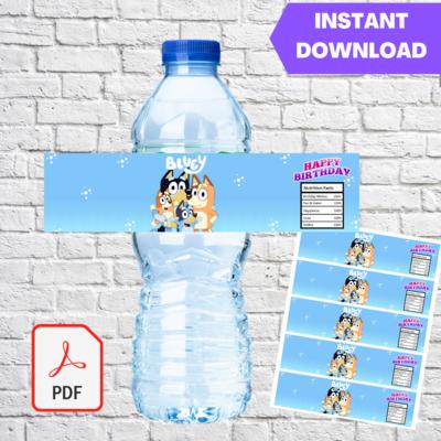 Bluey Water Bottle Label Printable