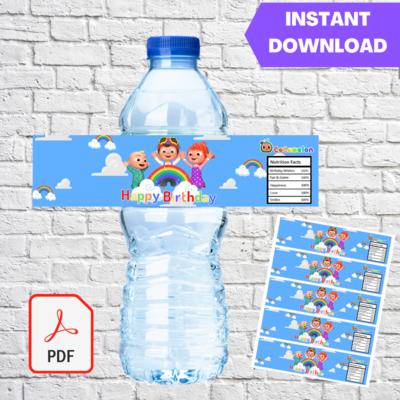 Cocomelon JJ Rainbow Water Bottle Label
