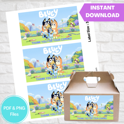 Bluey Party Gable Box Label Printable