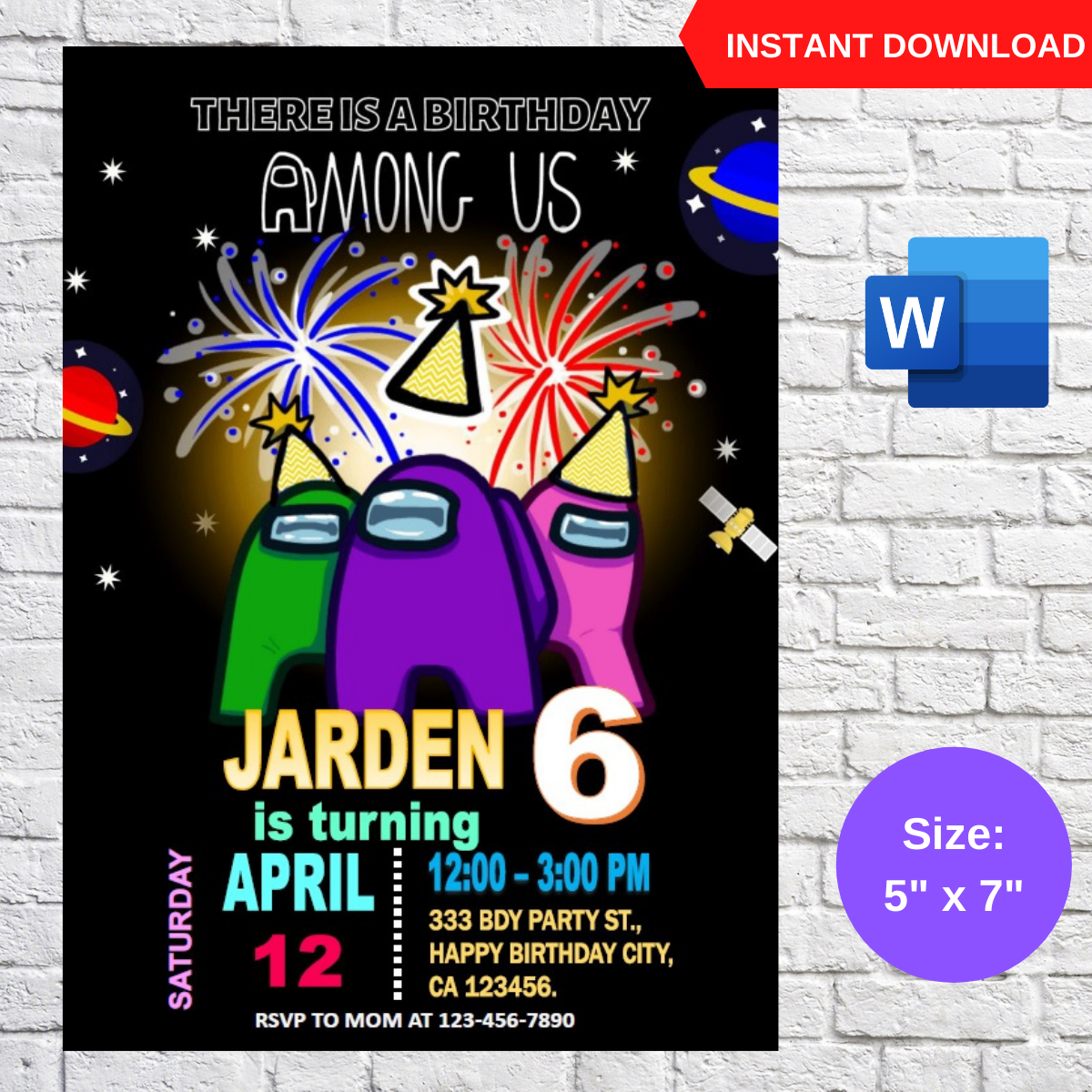 Among Us Birthday Party Invitation Template