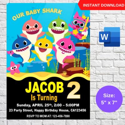 Baby Shark Birthday Party Invitation template Printable