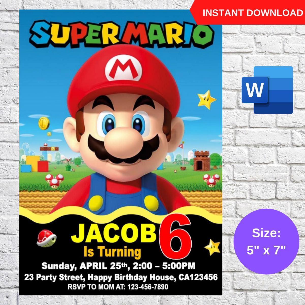 Super Mario Birthday Party Invitation Template