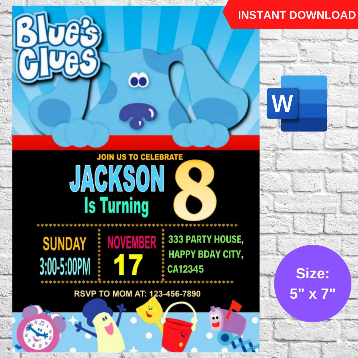 Blues Clues Birthday Invitation Template