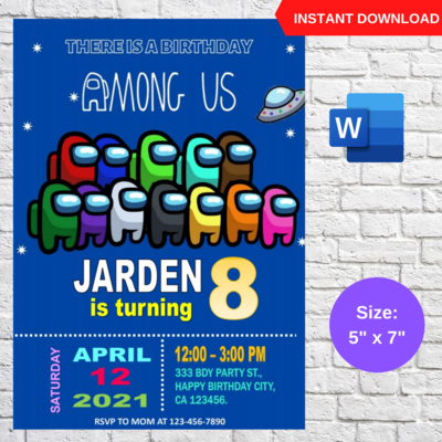 Among Us Game Party Invitation Template Editable
