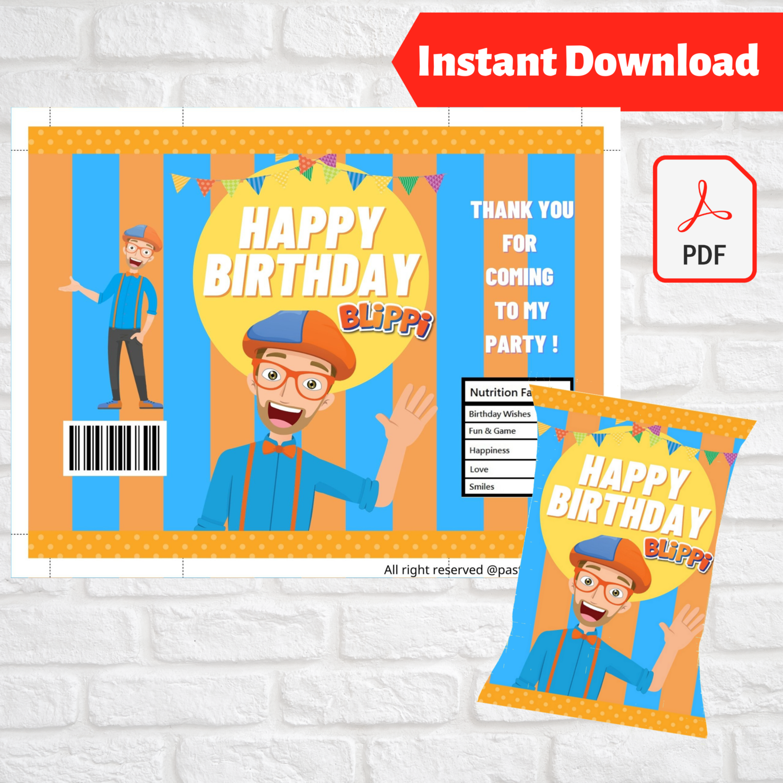 Blippi Chip Bag Wrapper Party Favors Printable
