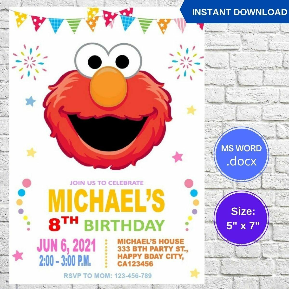 Elmo Sesame Street Birthday Invitation Template