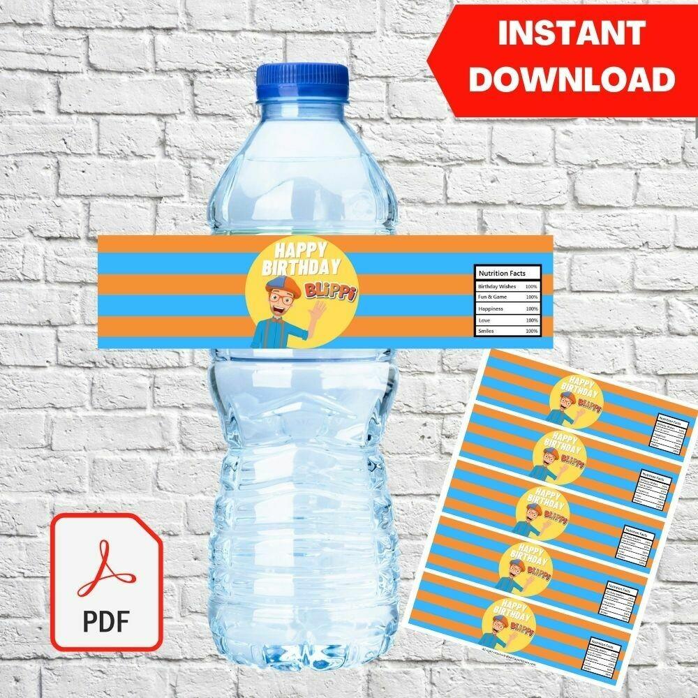 Blippi Water Bottle Label Party Favors Printable