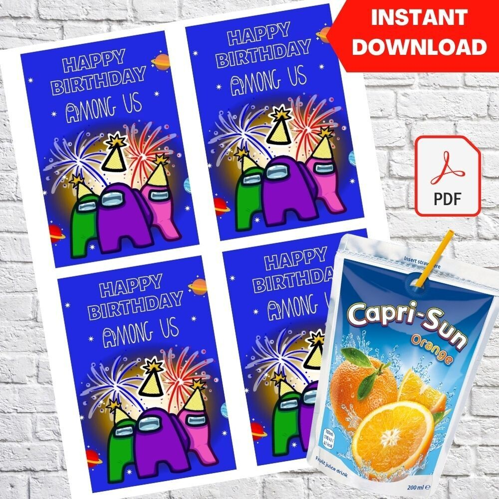 Among Us Capri Sun Pouch Label Printable