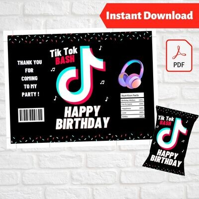 Tik Tok Musical Chip Bag Wrapper Printable