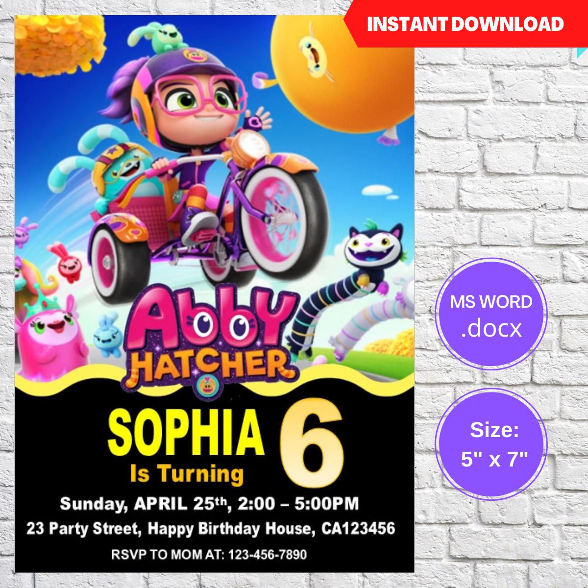 Abby Hatcher Invitation Template Editable