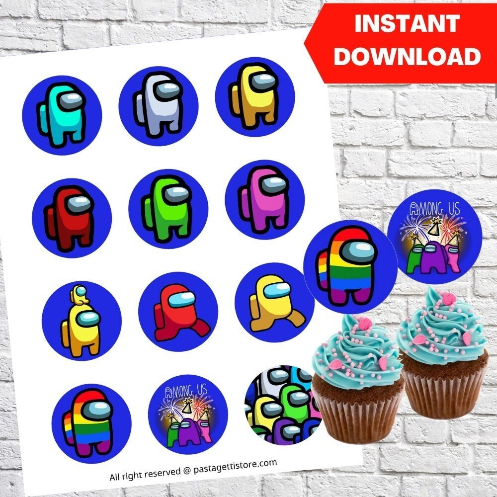 Among Us Party Cupcake Toppers Printable