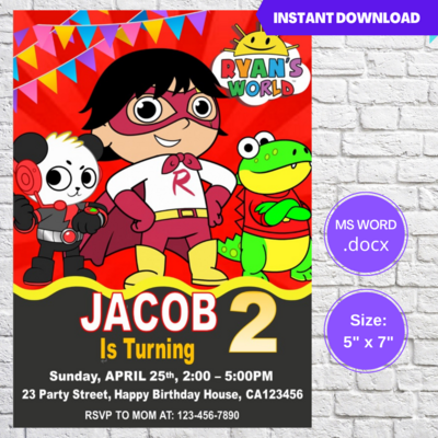Ryan's World Birthday Party Invitation Template