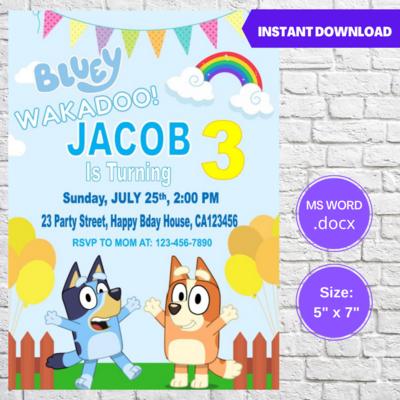 Bluey Wakadoo Birthday Invitation Template