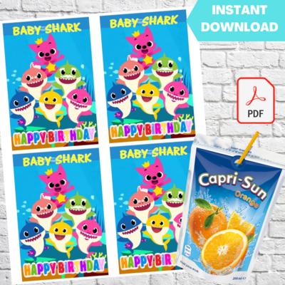 Baby Shark and Pinkfong Capri Sun Labels Printable