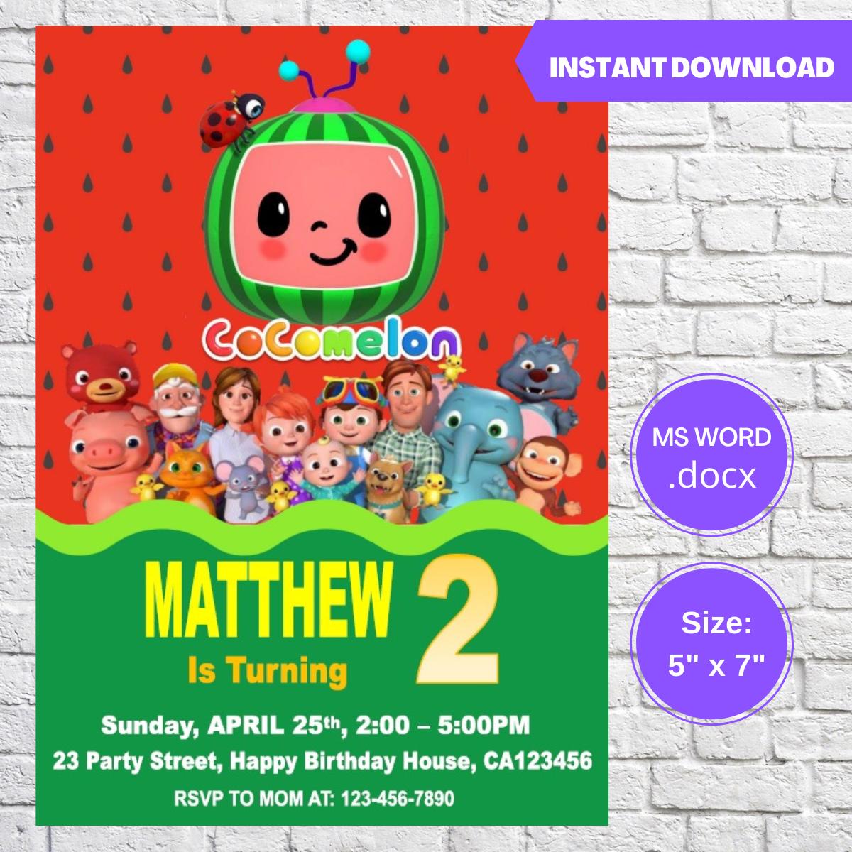 Cocomelon Baby JJ Watermelon Birthday Invitation