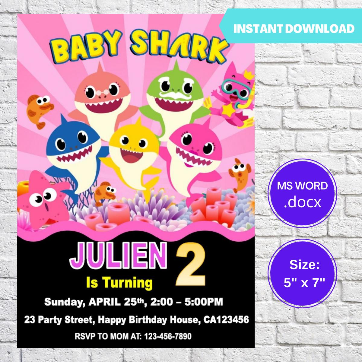 Baby Shark Pink Girls Birthday Invitation Template