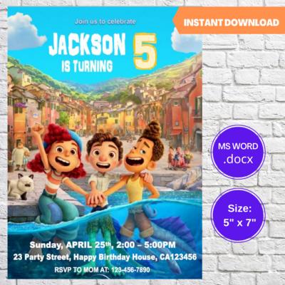 Disney Luca Birthday Party Invitation Template