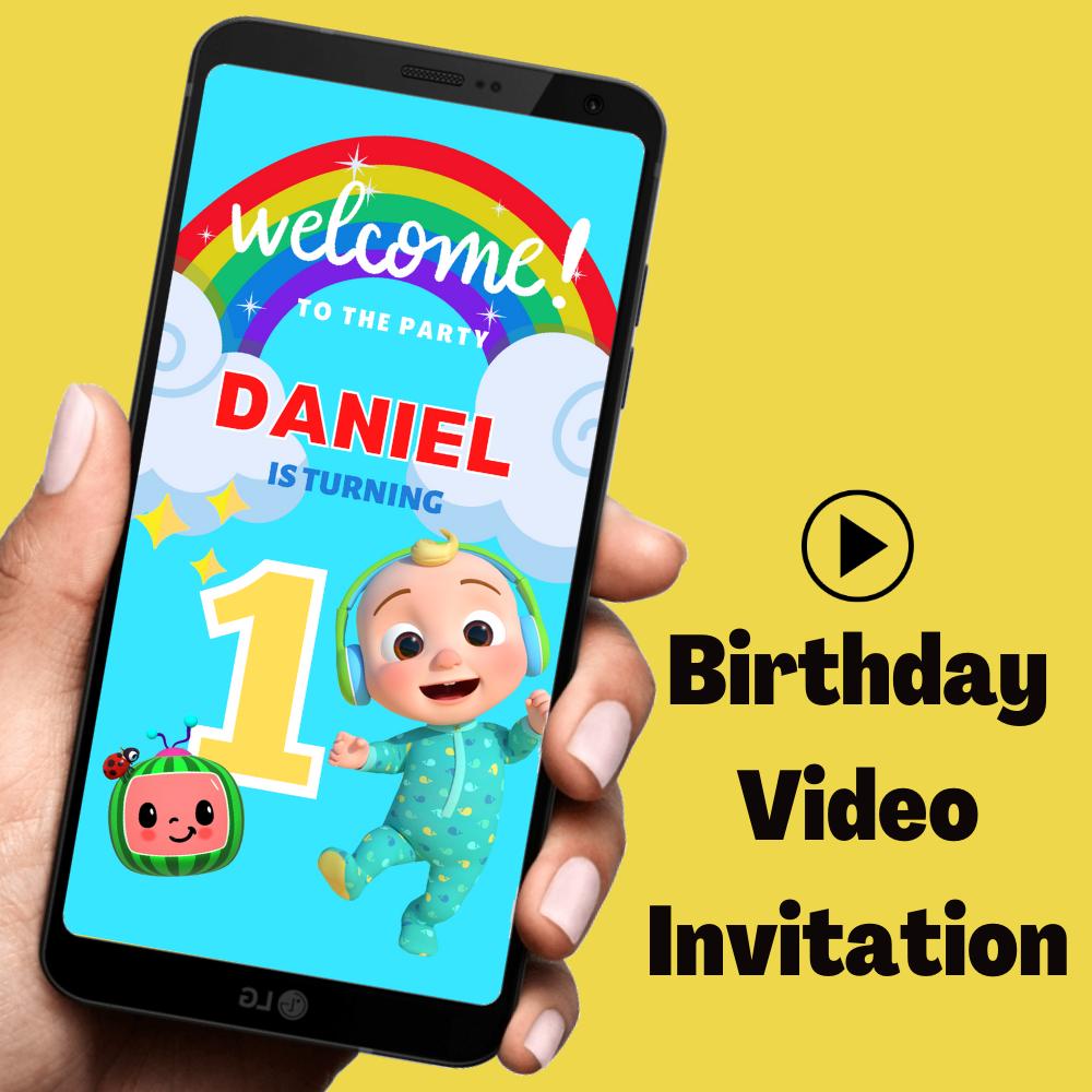 Cocomelon Baby Birthday Video Invitation
