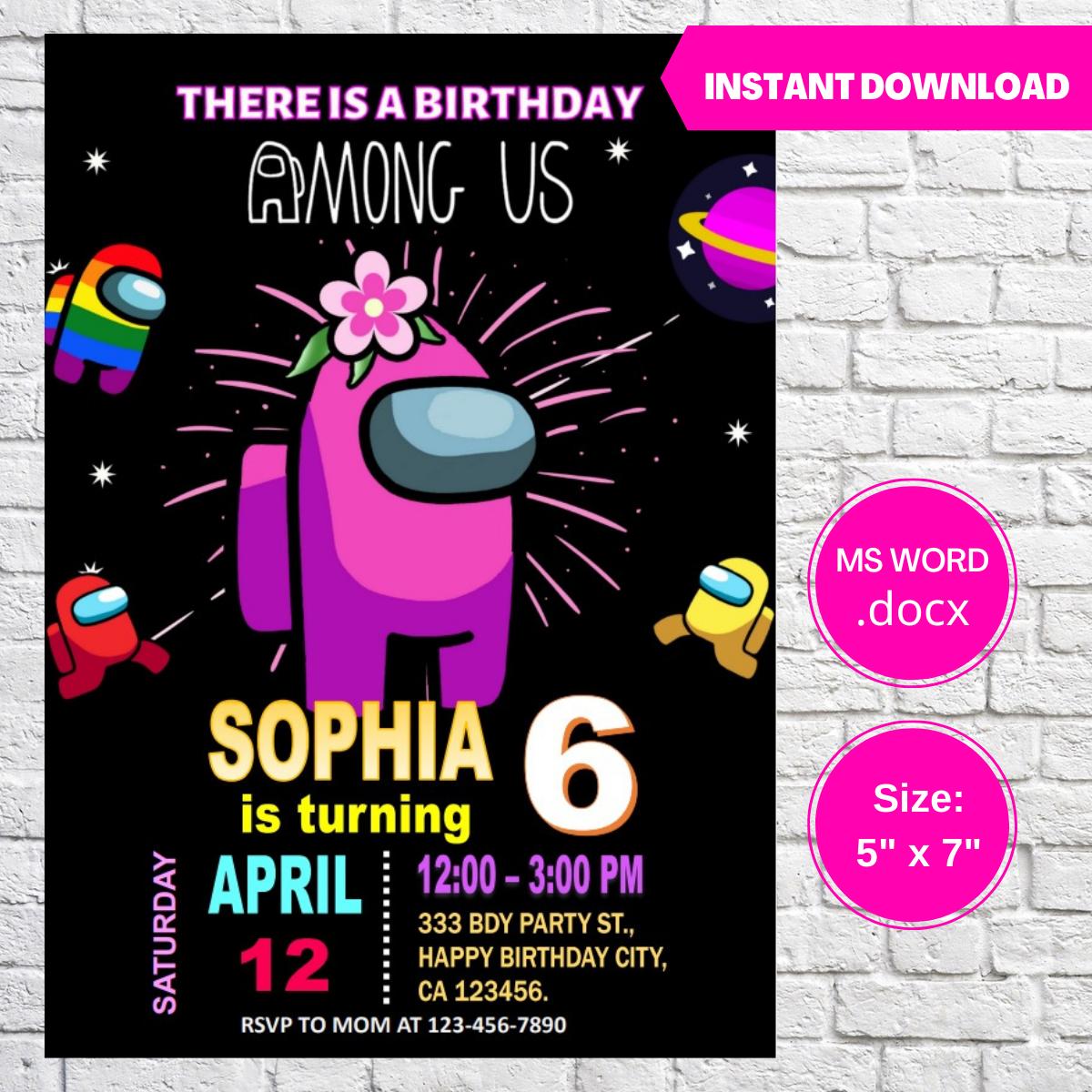 Among Us Girls Birthday Invitation Template