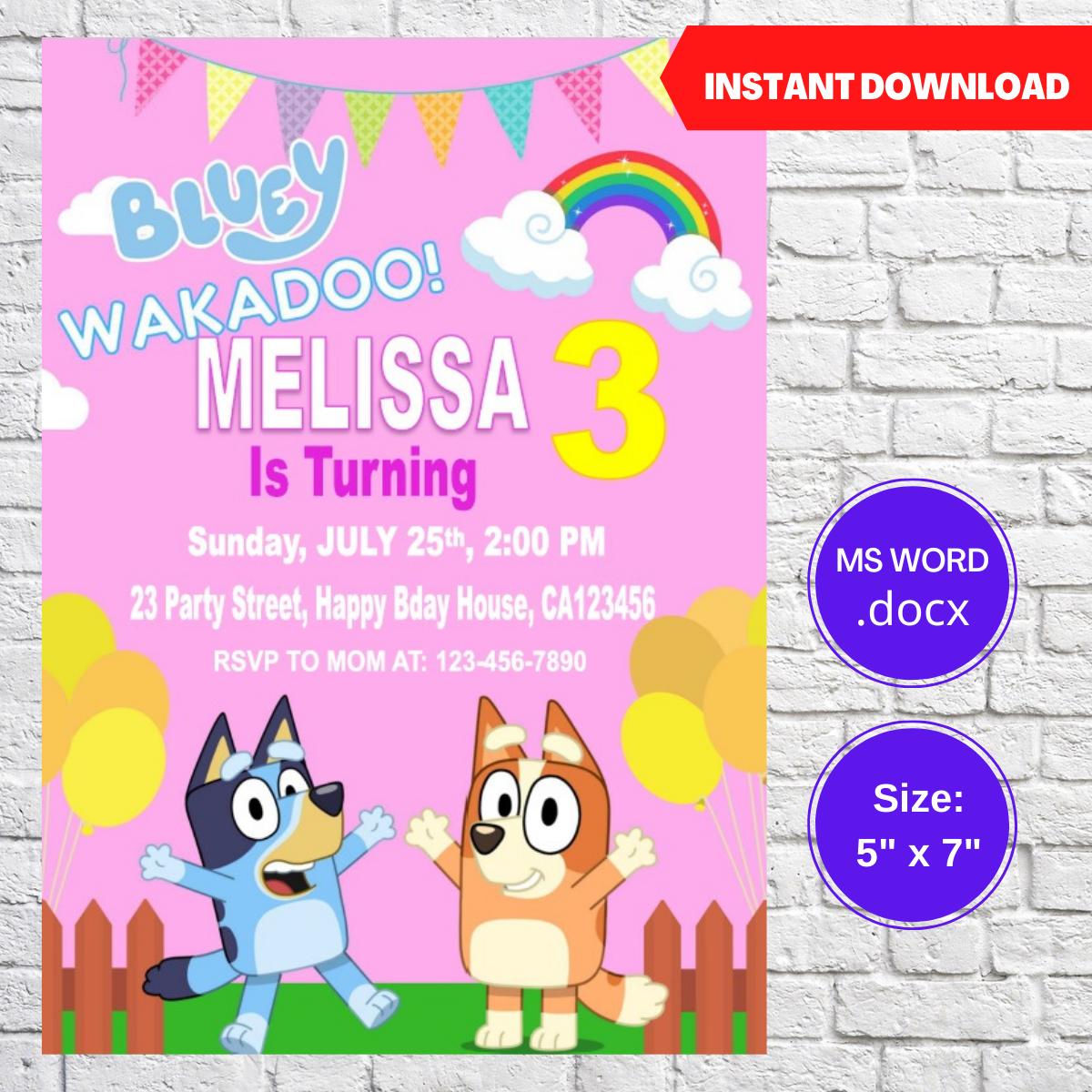 Bluey Girls Birthday Party Invitation Template