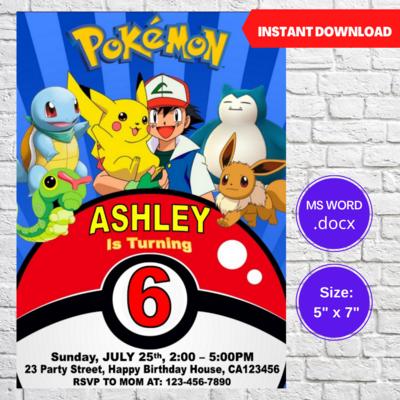 Pokemon Go Pikachu Birthday Party Invitation Template
