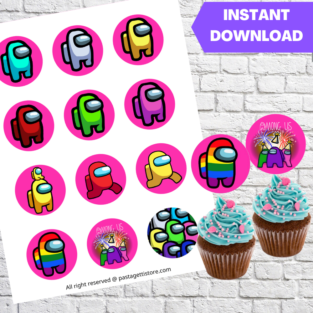 Among Us Pink Party Cupcake Toppers Printable