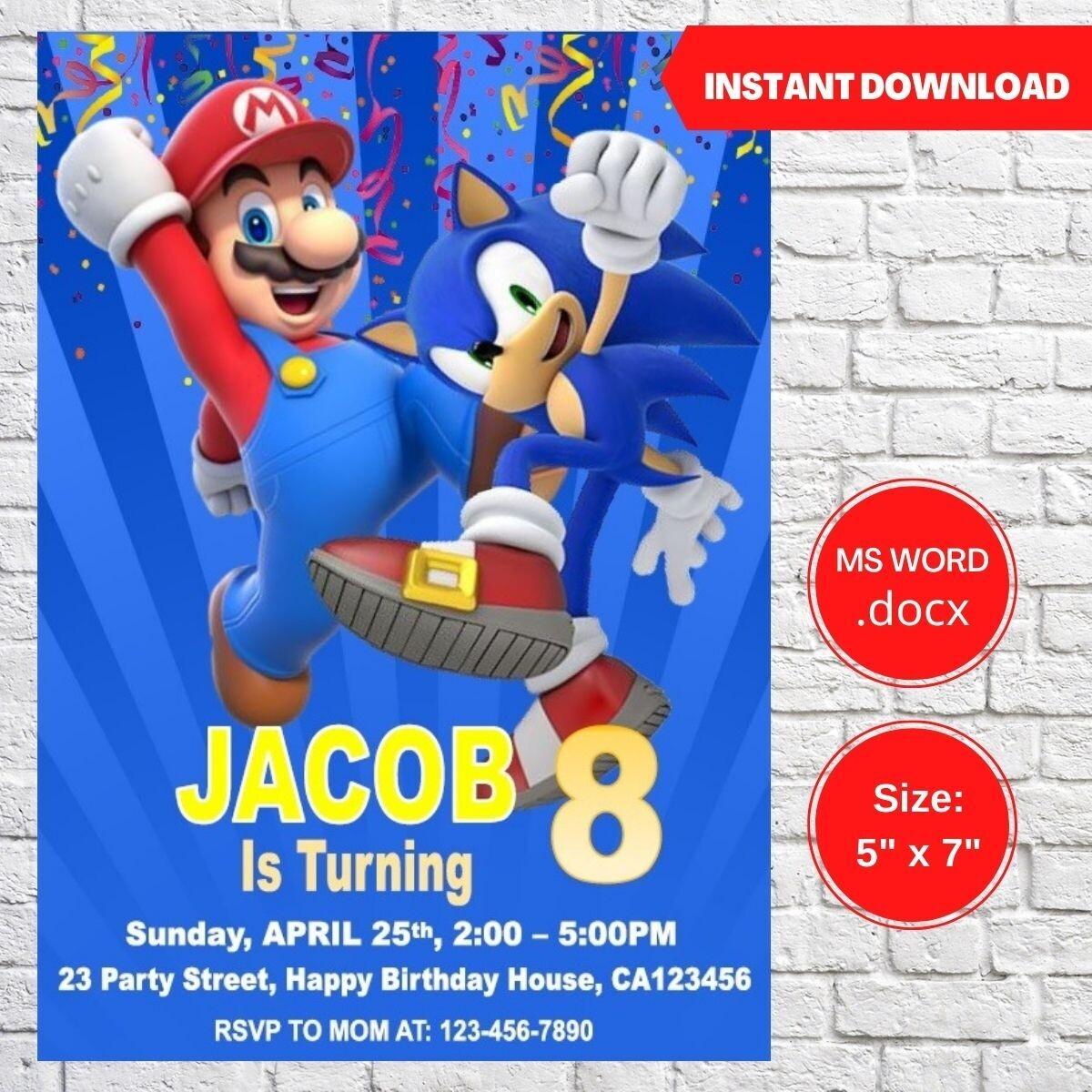 Sonic and Super Mario Bros Party Birthday Invitation