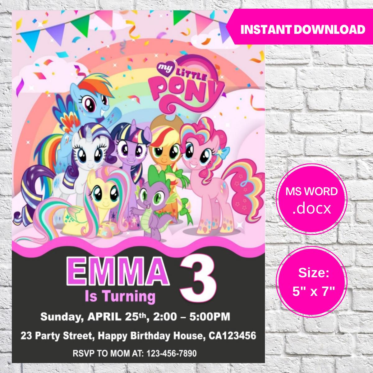 My Little Pony Birthday Invitation Template