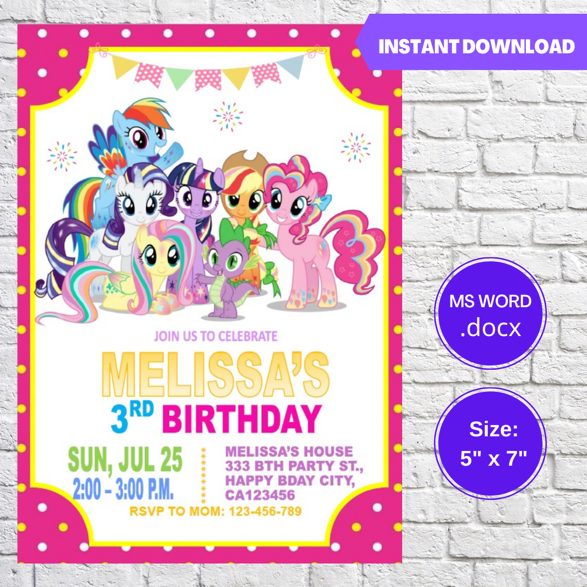 My Little Pony Birthday Party Invitation Template