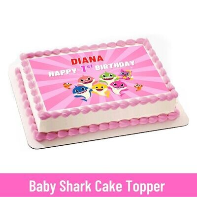 Baby Shark Girls Party Personalized Cake Topper