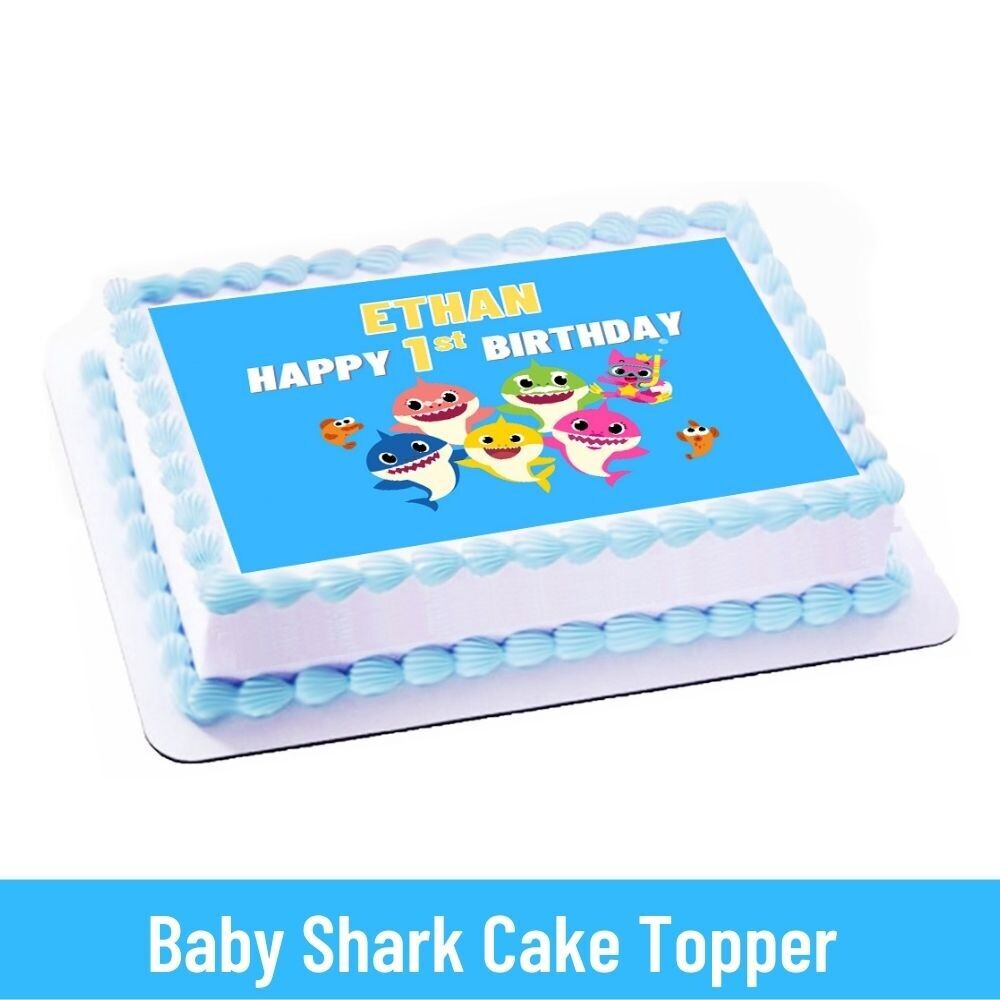 Baby Shark Party Personalized Cake Topper