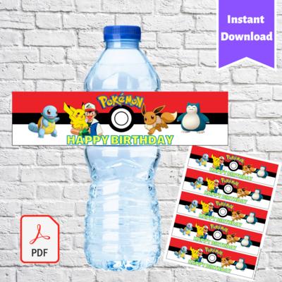 Pokemon Go Pikachu Water Bottle Labels Printable