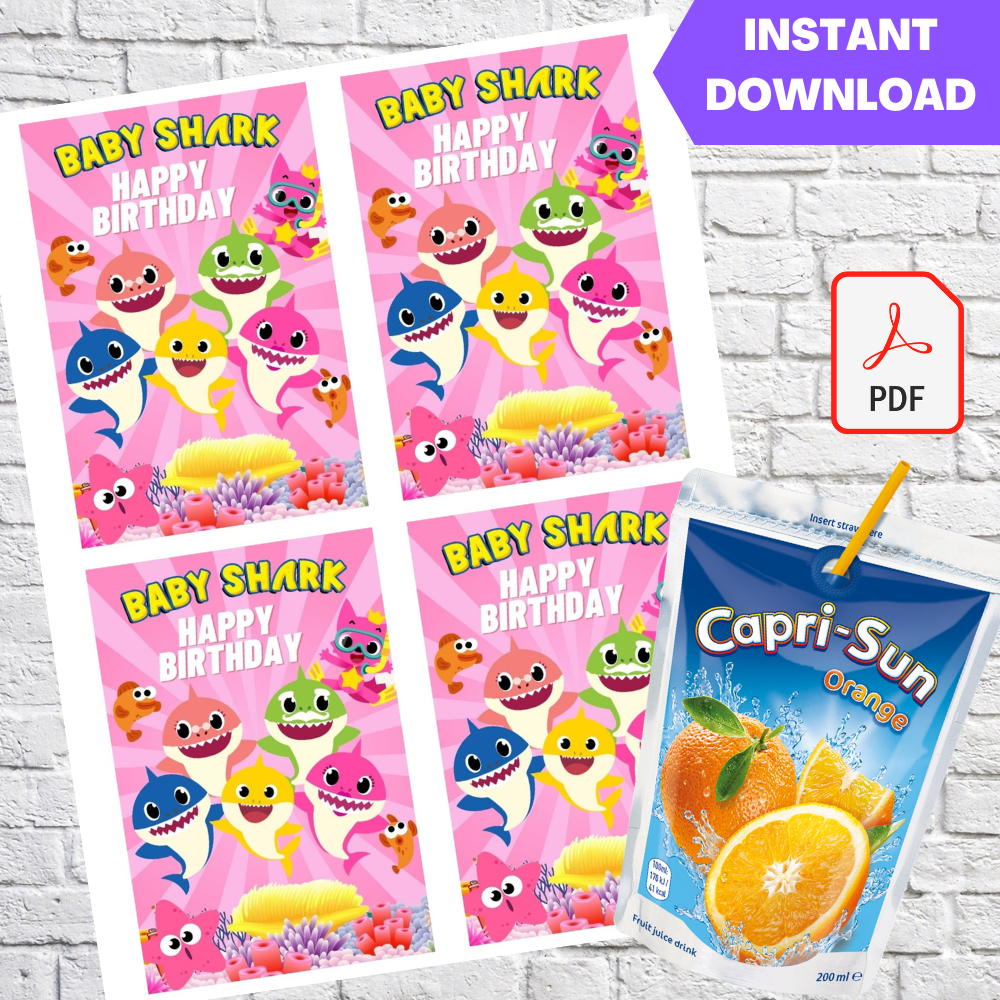 Baby Shark Girls Capri Sun Labels Printable