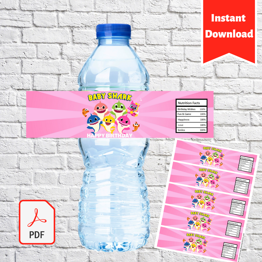 Baby Shark Girls Water Bottle Label Printable