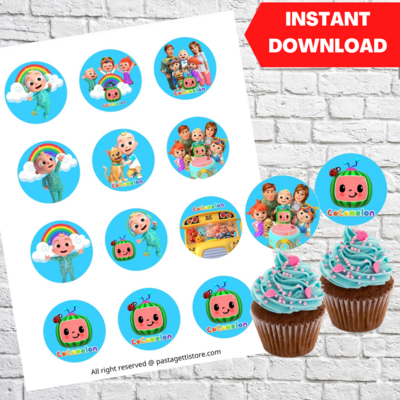 Cocomelon Party Cupcake Toppers Printable