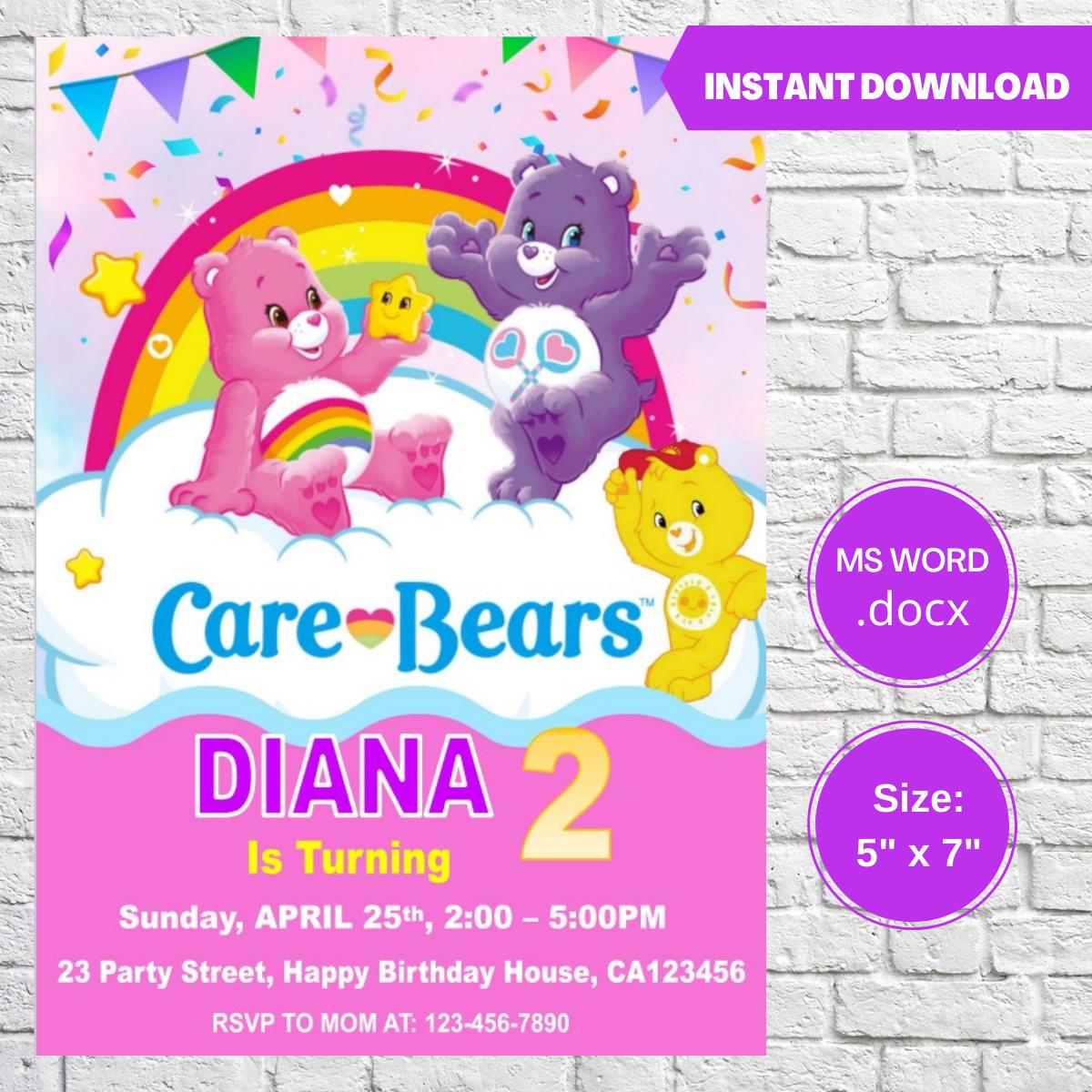 Care Bears Birthday Invitation Template