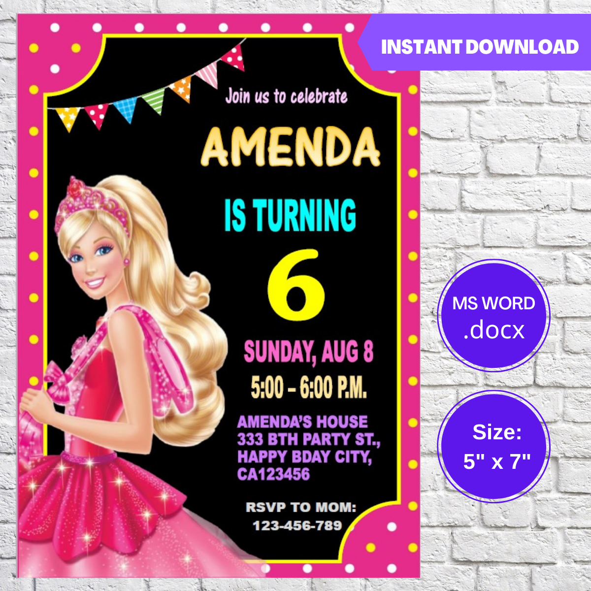 Barbie Girls Birthday Invitation Template