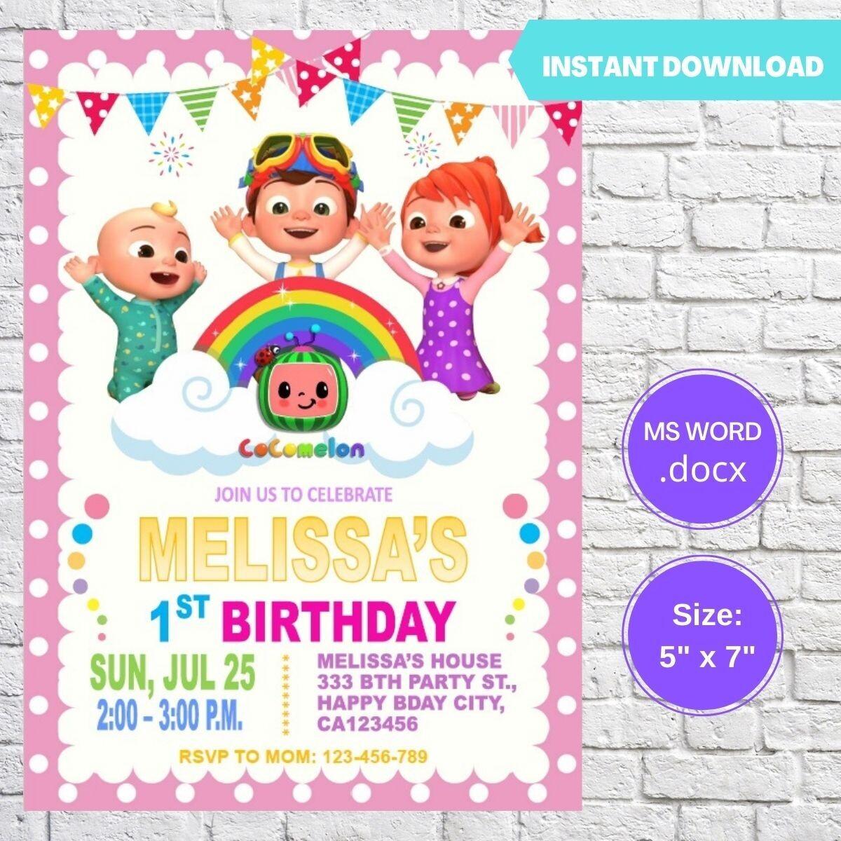 Cocomelon Girl Birthday Invitation Template
