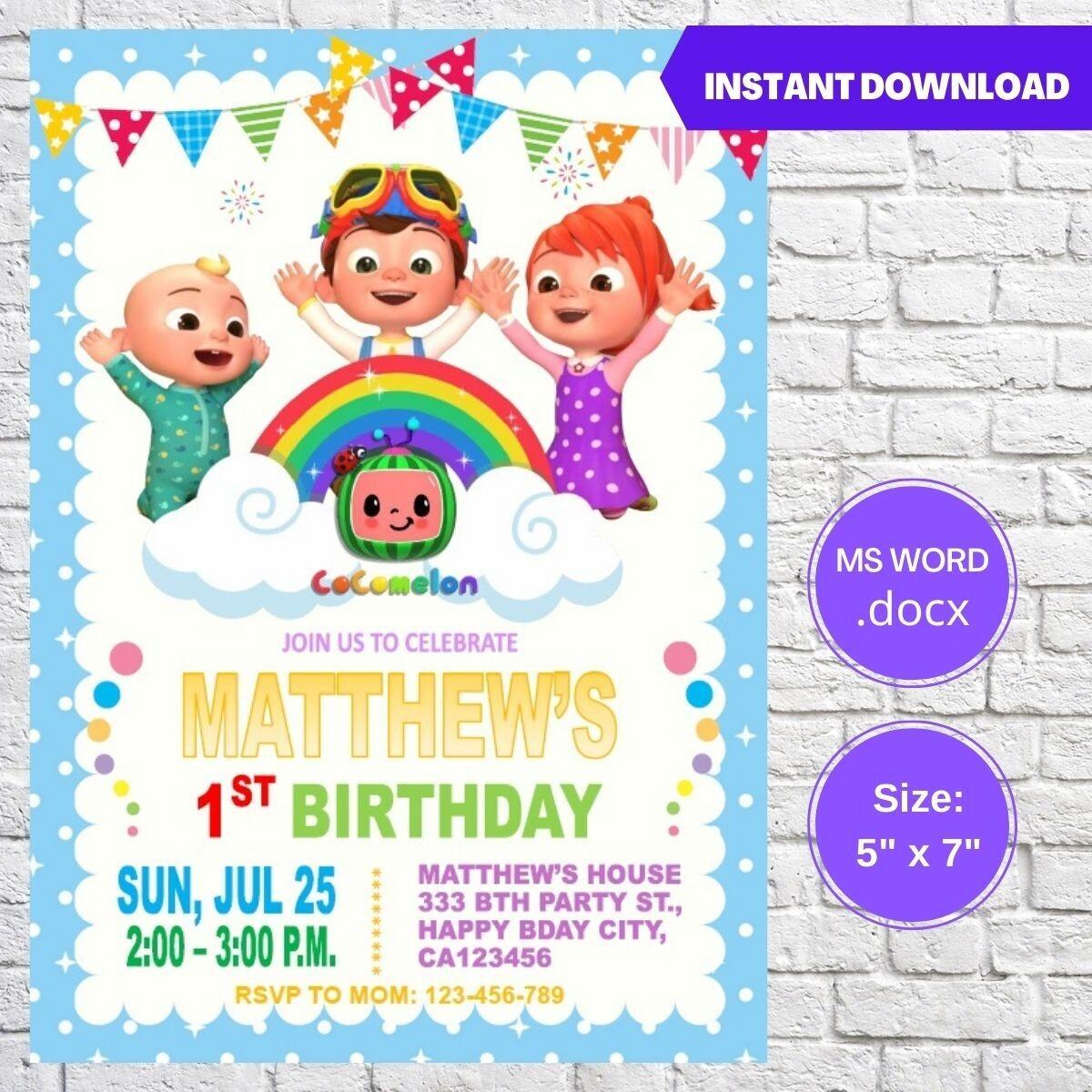 Cocomelon JJ Boy Birthday Party Invitation Template