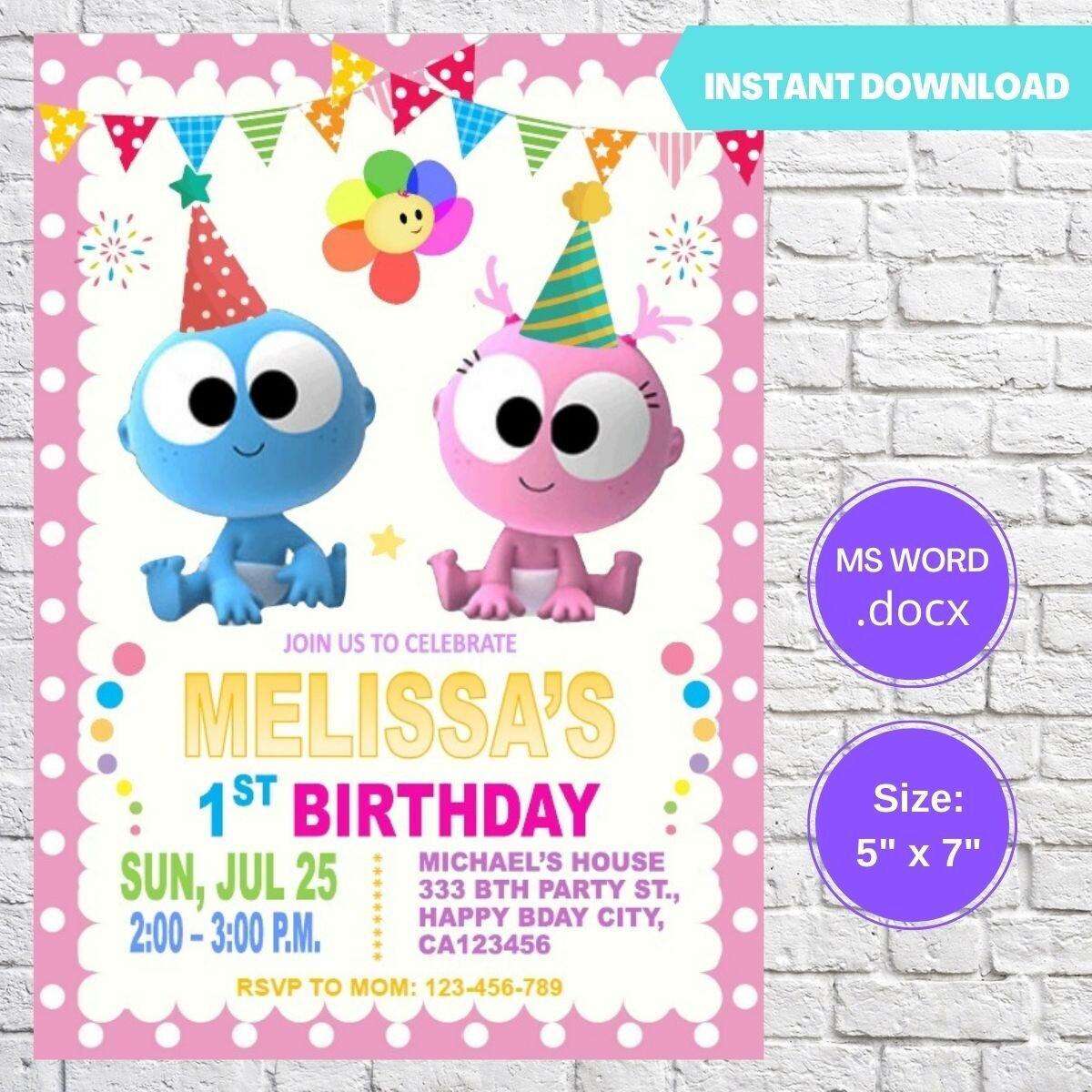 GooGoo & GaaGaa Birthday Party Invitation Template