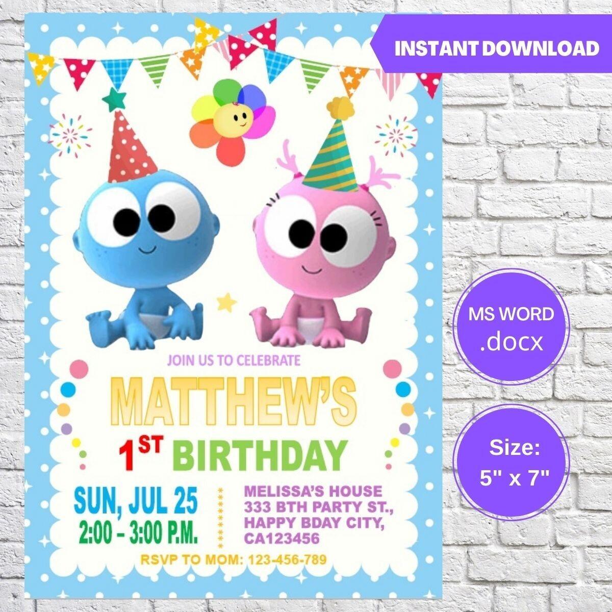 GooGoo & GaaGaa Boy Birthday Party Invitation
