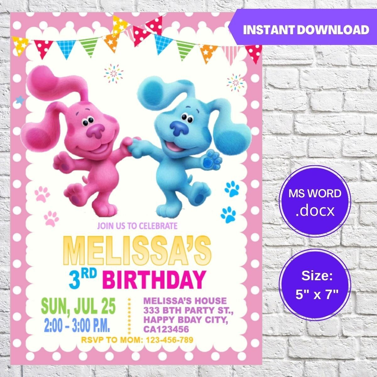 Blues Clues Girls Birthday Party Invitation